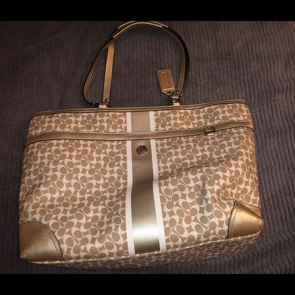 Coach Handbags - Gold and Cream Coach Large Tote